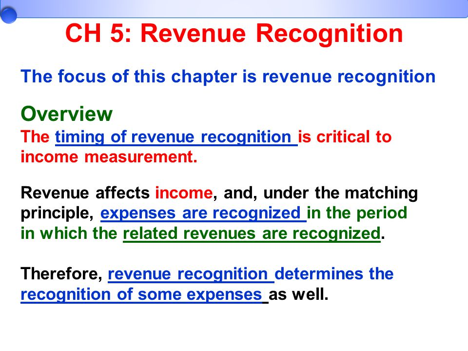 CH 5: Revenue Recognition