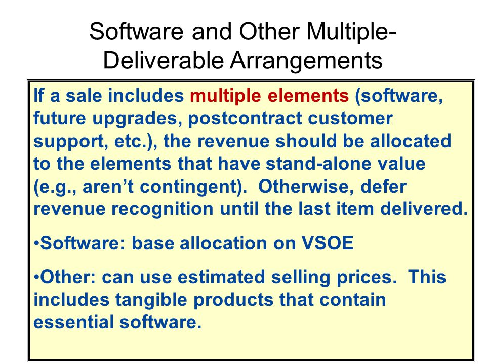 Software and Other Multiple- Deliverable Arrangements