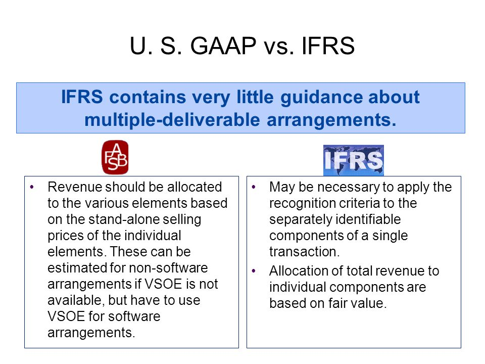 U. S. GAAP vs. IFRS IFRS contains very little guidance about multiple-deliverable arrangements.