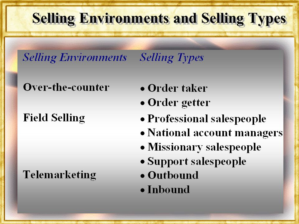 Selling Environments and Selling Types