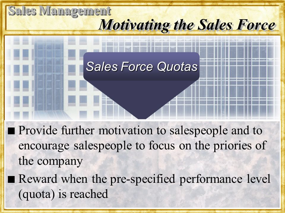 Motivating the Sales Force