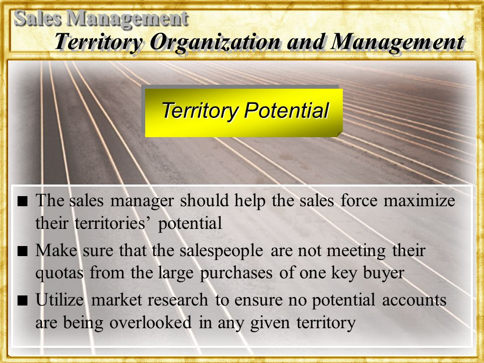 Territory Organization and Management