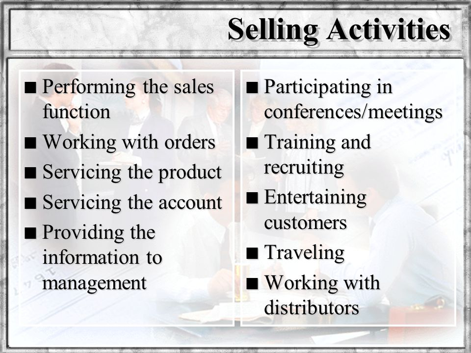 Selling Activities Performing the sales function Working with orders