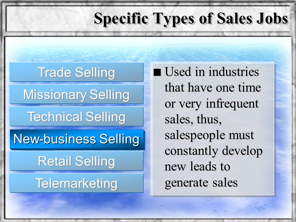 Specific Types of Sales Jobs