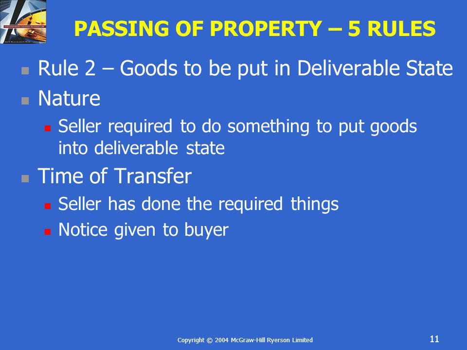 PASSING OF PROPERTY – 5 RULES