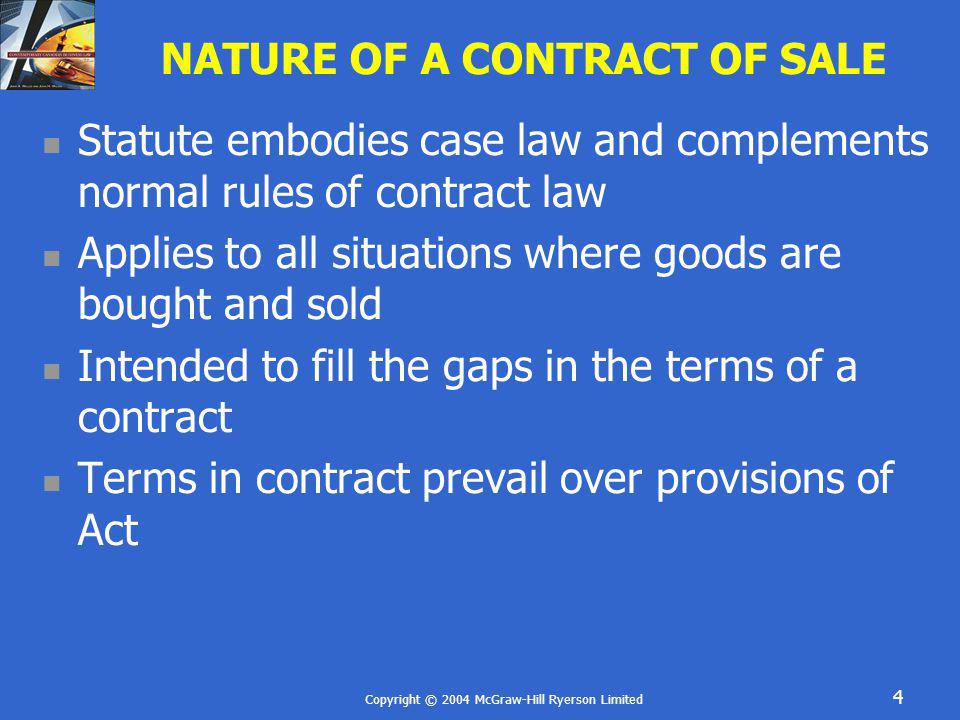 NATURE OF A CONTRACT OF SALE