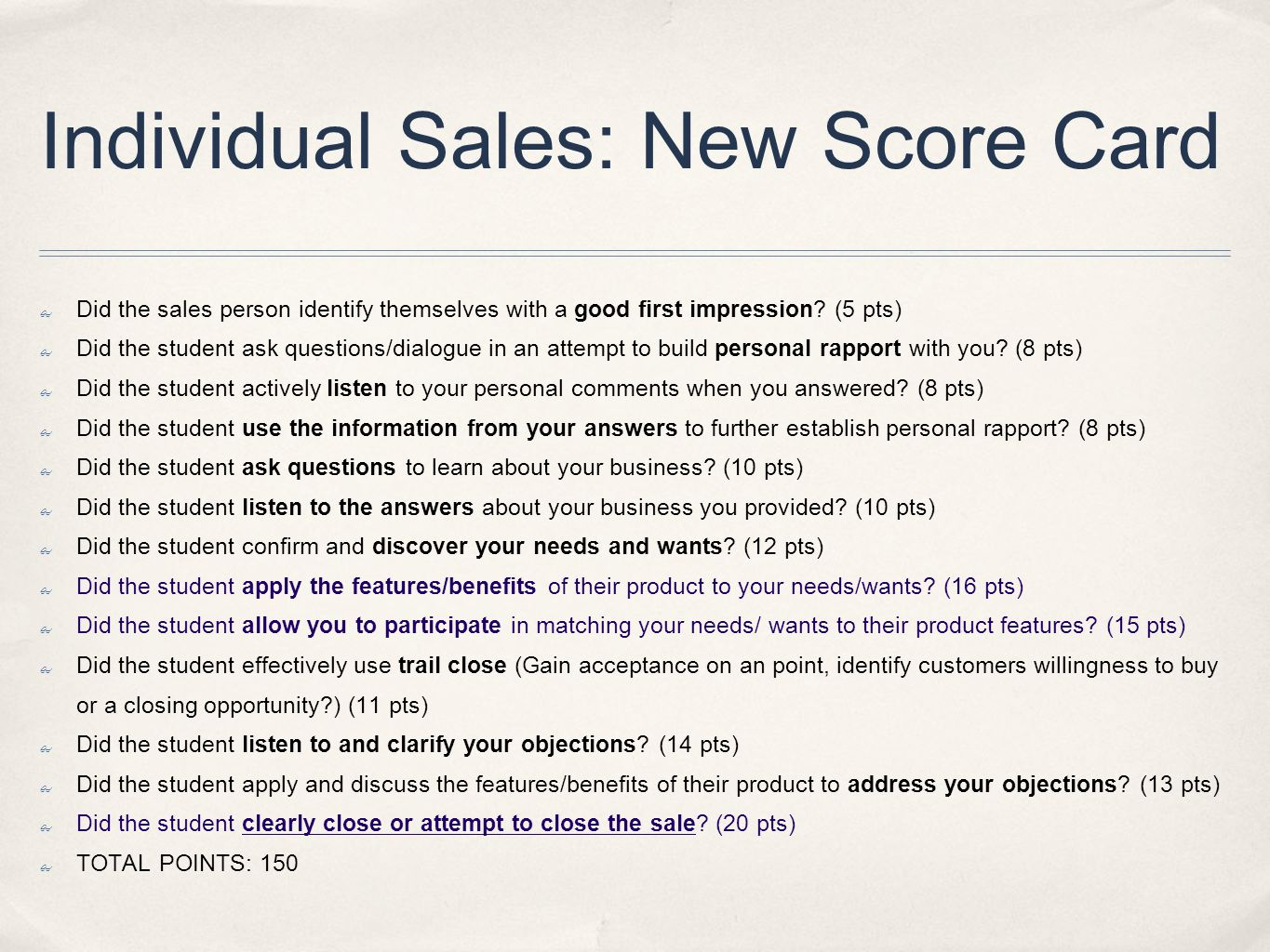 Individual Sales: New Score Card