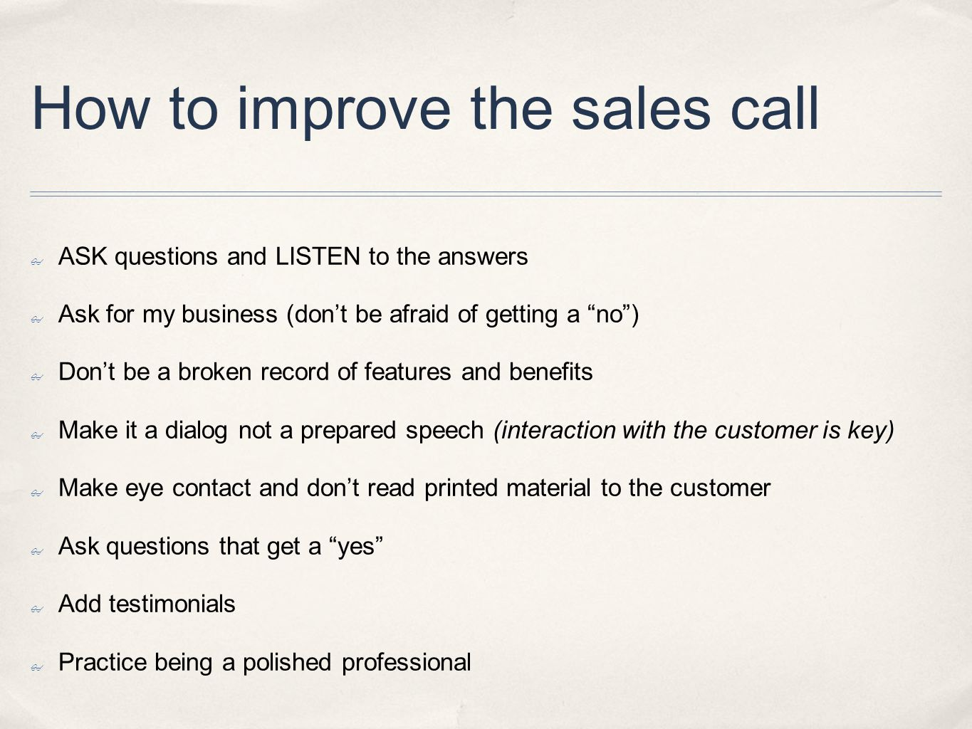 How to improve the sales call