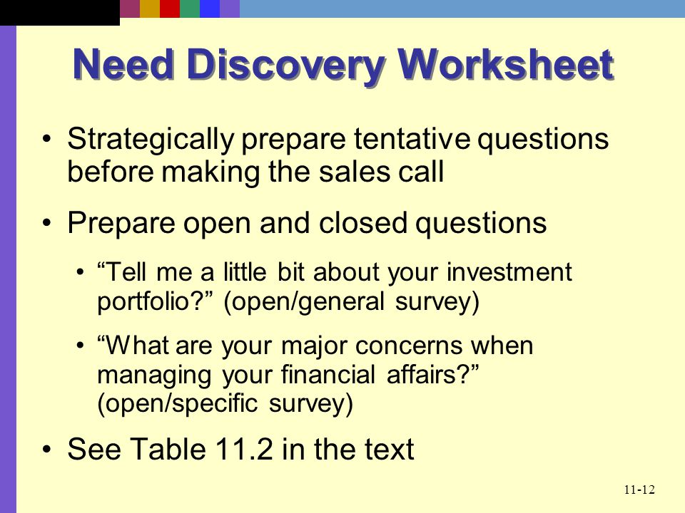 Need Discovery Worksheet