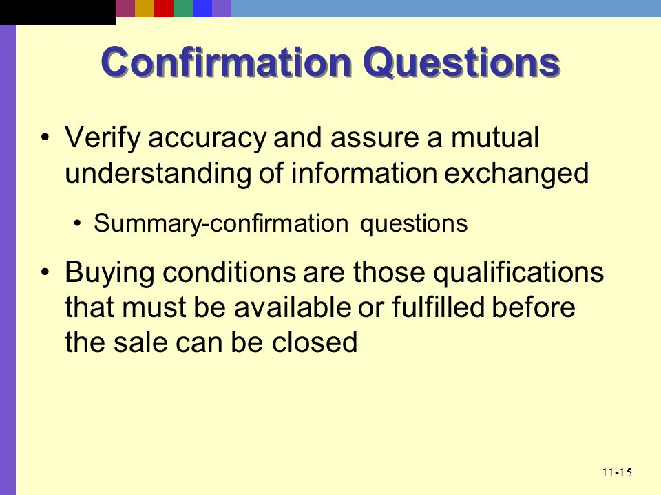 Confirmation Questions