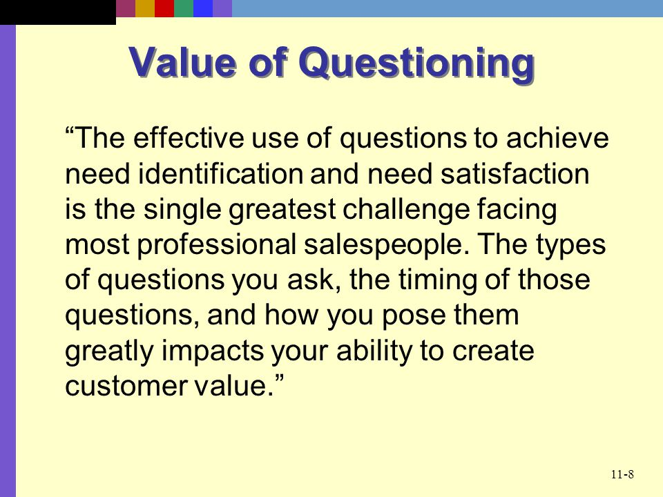 Value of Questioning