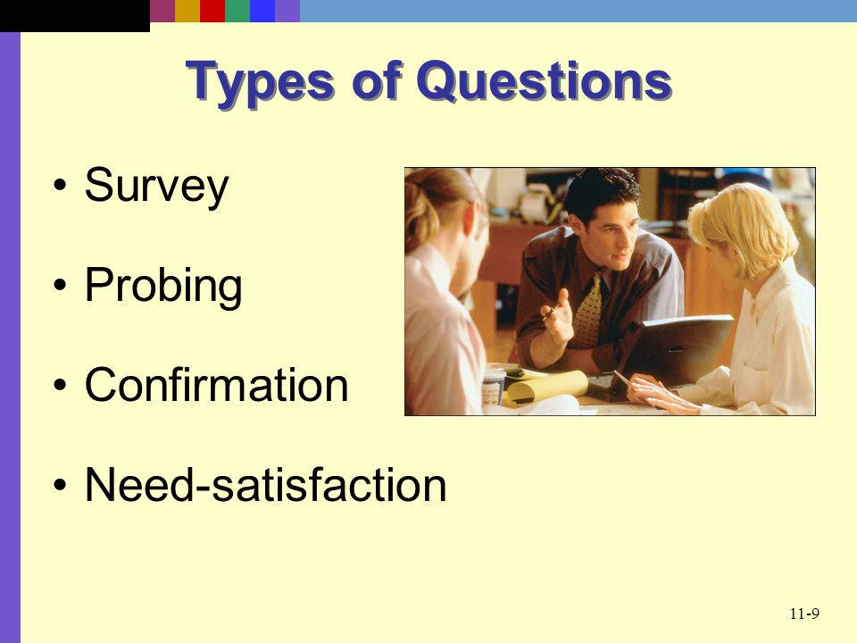 Types of Questions Survey Probing Confirmation Need-satisfaction