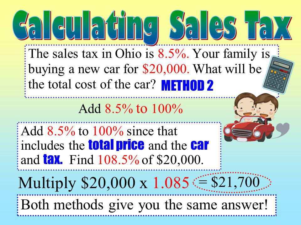 Multiply $20,000 x 1.085 Calculating Sales Tax = $21,700