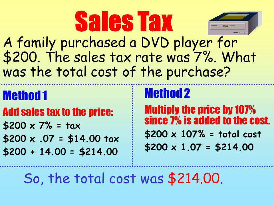 Sales Tax A family purchased a DVD player for $200. The sales tax rate was 7%. What was the total cost of the purchase