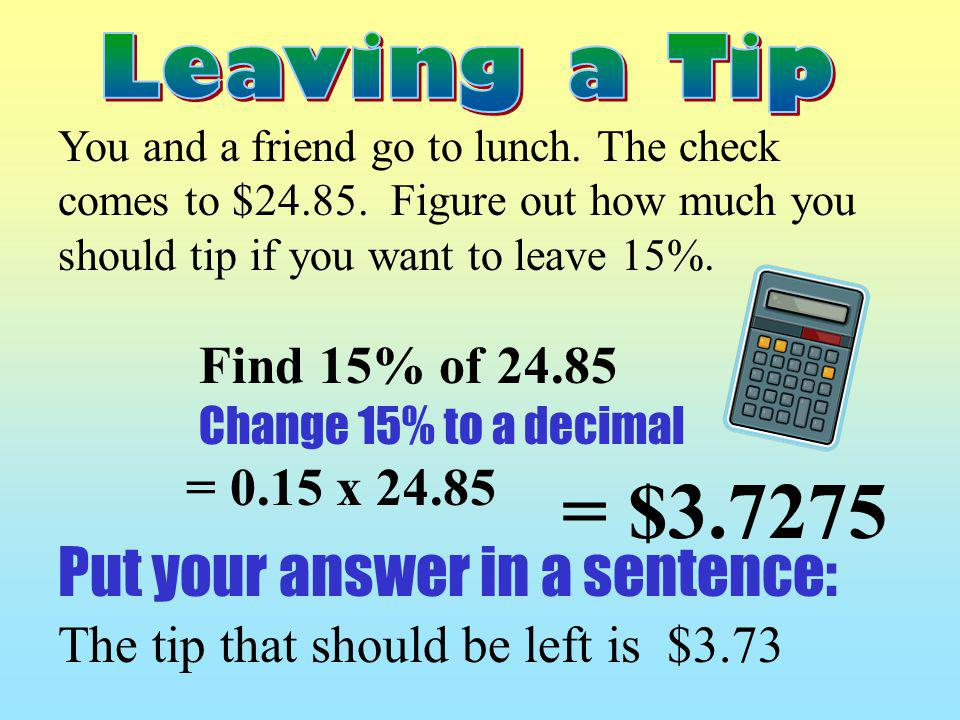 = $3.7275 Put your answer in a sentence: Find 15% of 24.85