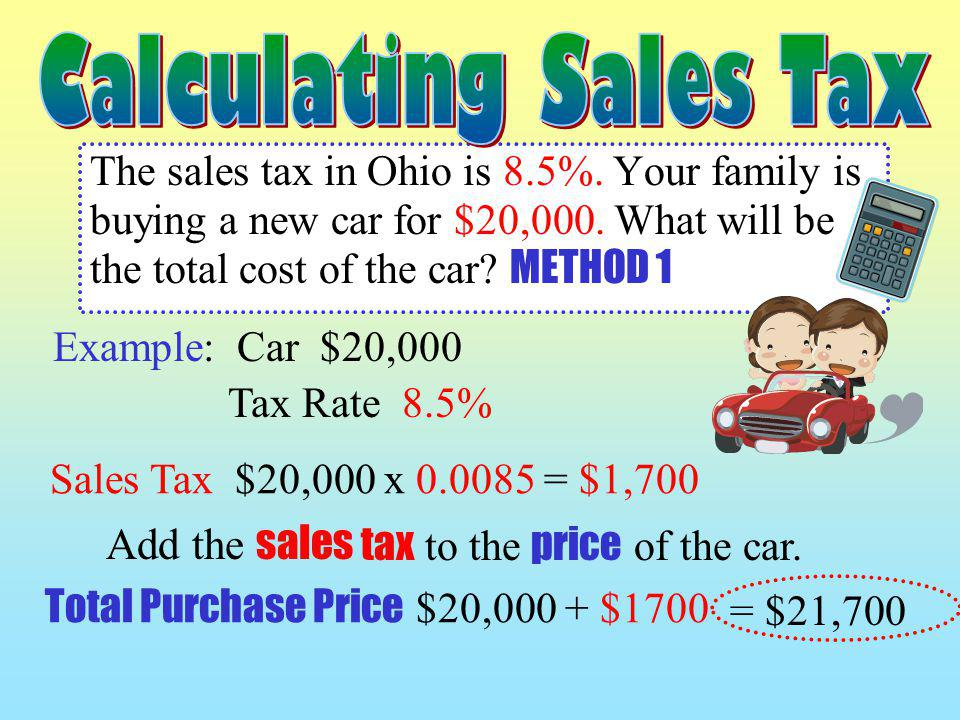 Add the sales tax to the price of the car.