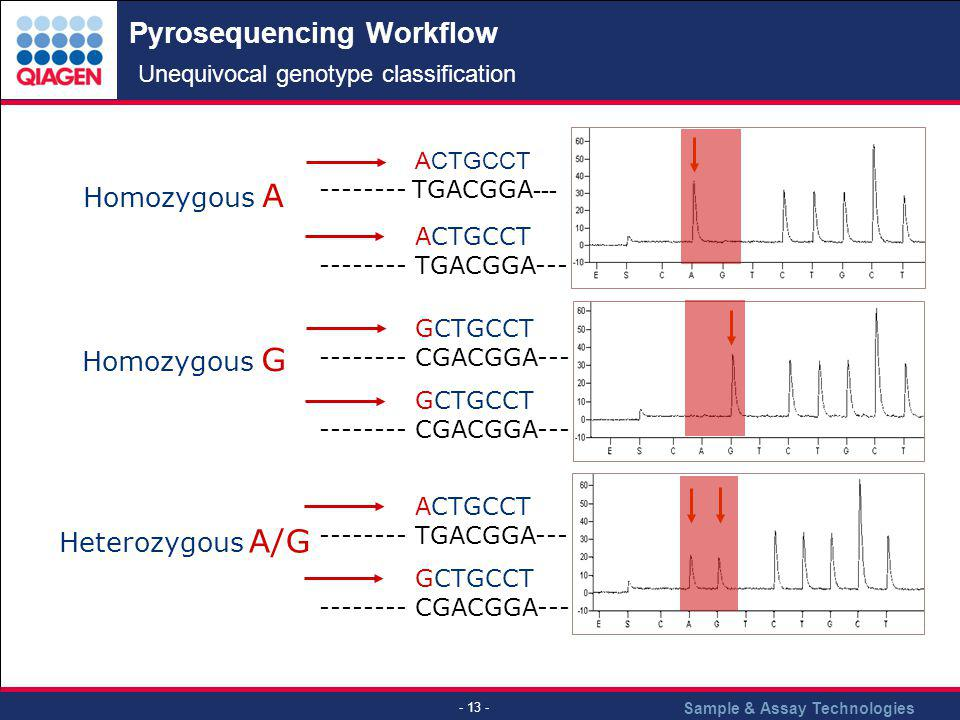 Pyrosequencing Workflow Unequivocal genotype classification