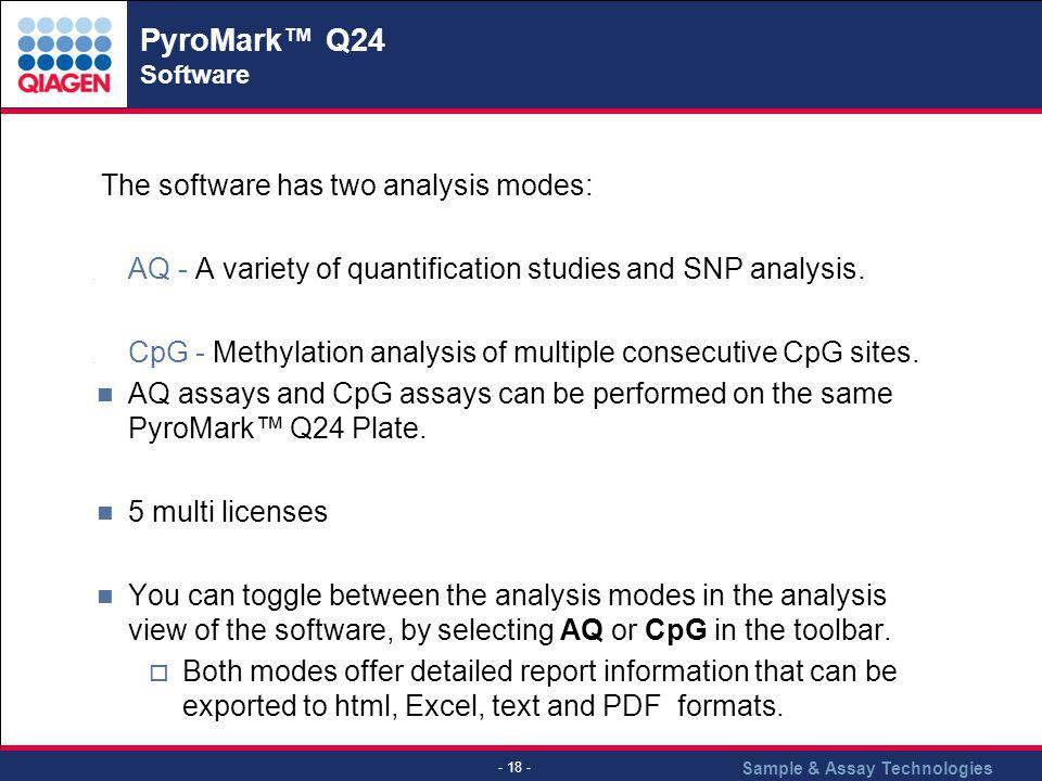PyroMark™ Q24 Software The software has two analysis modes: AQ - A variety of quantification studies and SNP analysis.