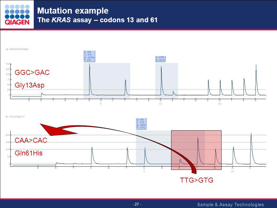 Mutation example The KRAS assay – codons 13 and 61