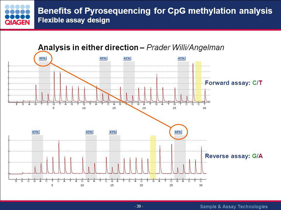 Benefits of Pyrosequencing for CpG methylation analysis Flexible assay design