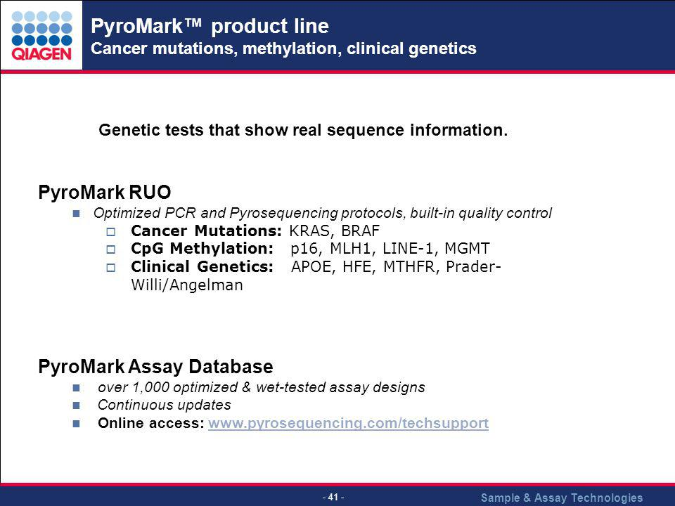 PyroMark™ product line Cancer mutations, methylation, clinical genetics