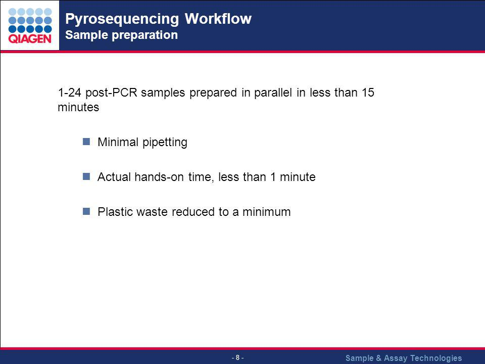 Pyrosequencing Workflow Sample preparation