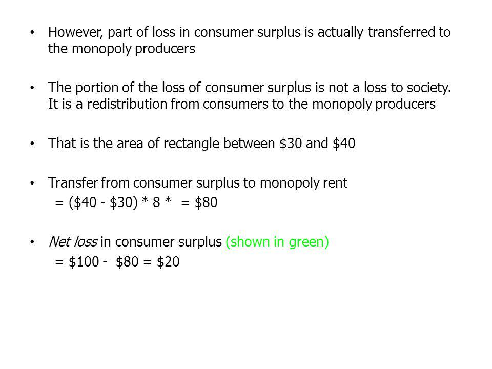 However, part of loss in consumer surplus is actually transferred to the monopoly producers