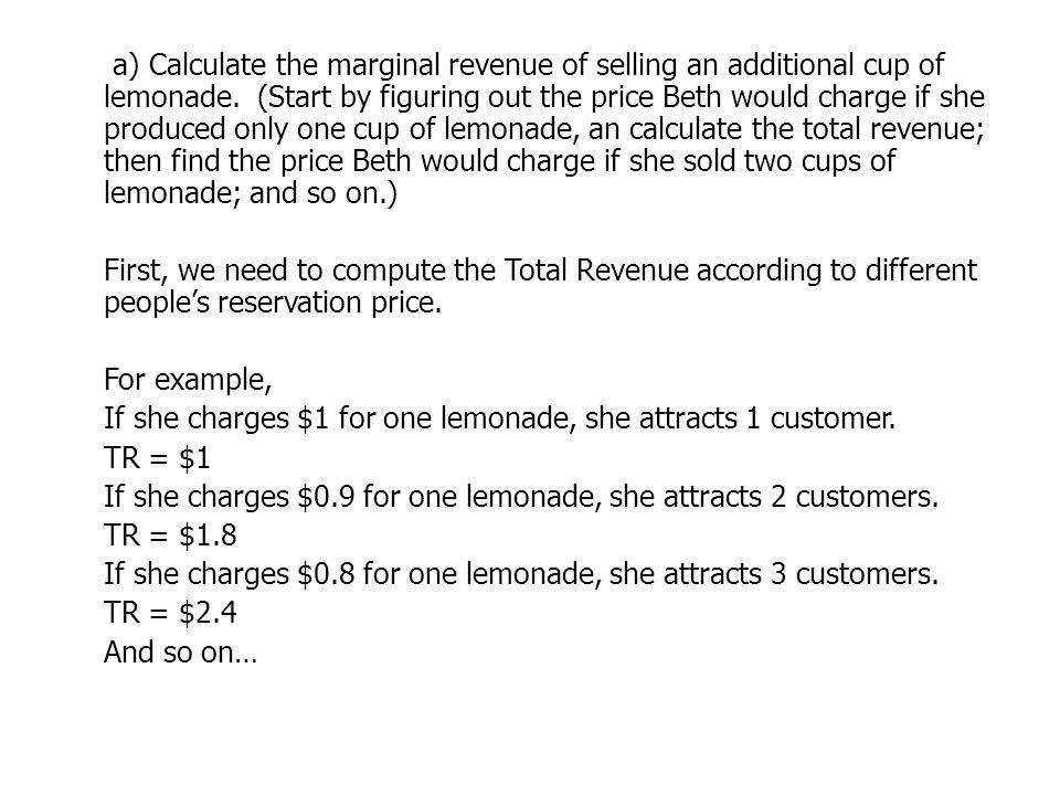 a) Calculate the marginal revenue of selling an additional cup of lemonade.