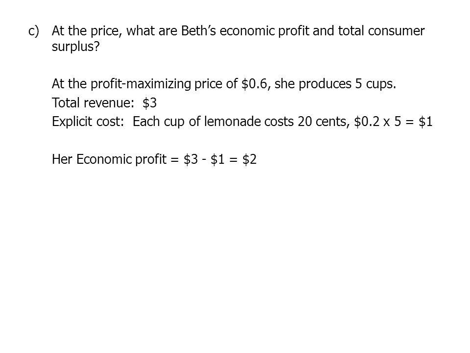 At the price, what are Beth's economic profit and total consumer surplus