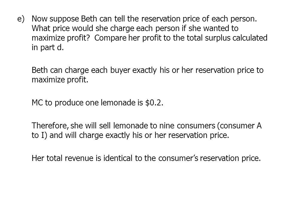 Now suppose Beth can tell the reservation price of each person