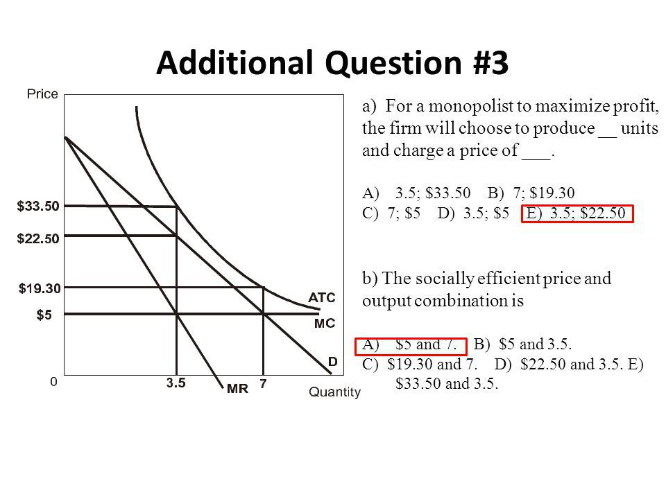 Additional Question #3 a) For a monopolist to maximize profit, the firm will choose to produce __ units and charge a price of ___.