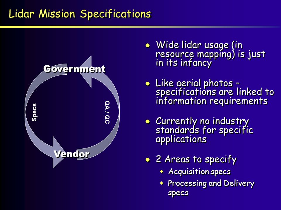 Lidar Mission Specifications
