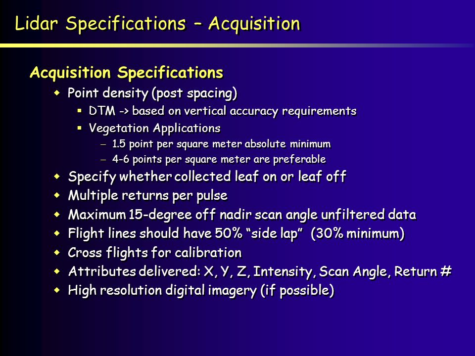 Lidar Specifications – Acquisition