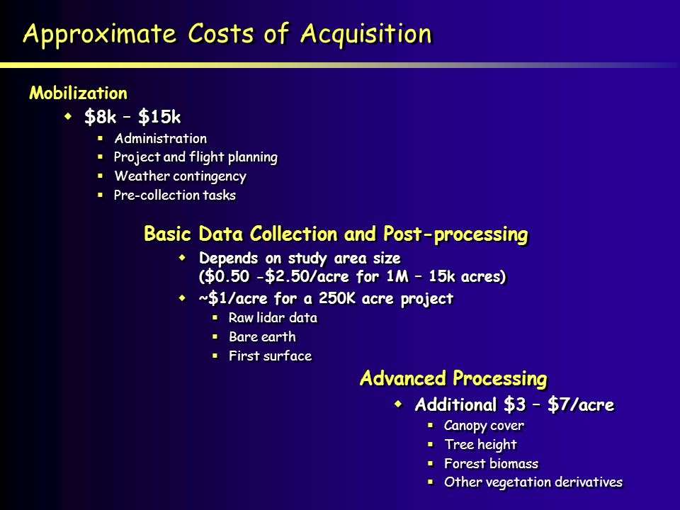 Approximate Costs of Acquisition