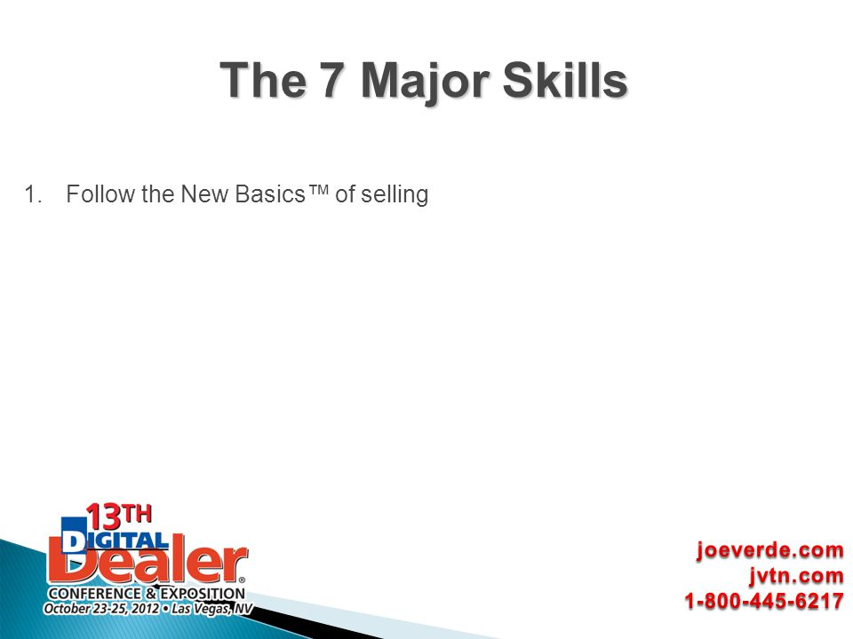 The 7 Major Skills Follow the New Basics™ of selling joeverde.com