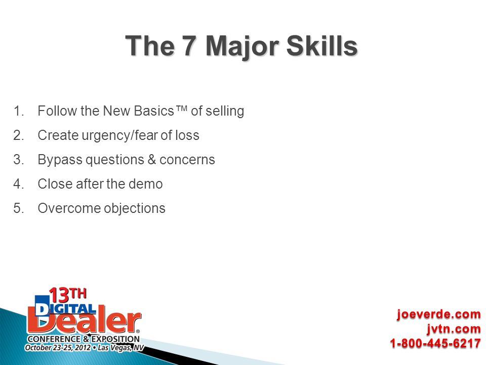 The 7 Major Skills Follow the New Basics™ of selling