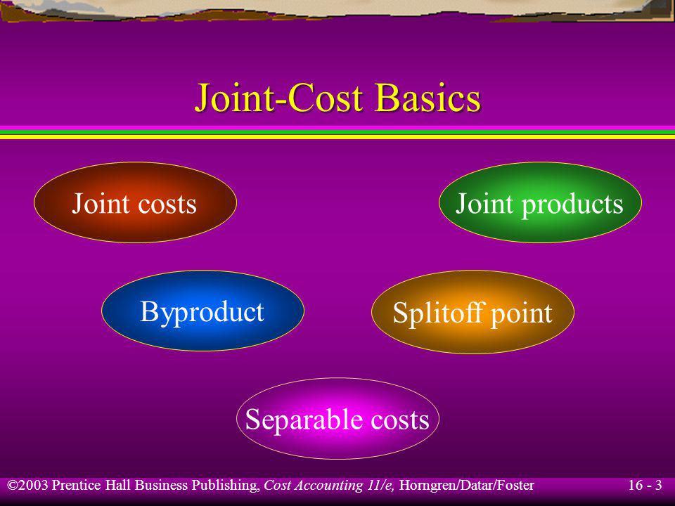Joint-Cost Basics Joint costs Joint products Byproduct Splitoff point