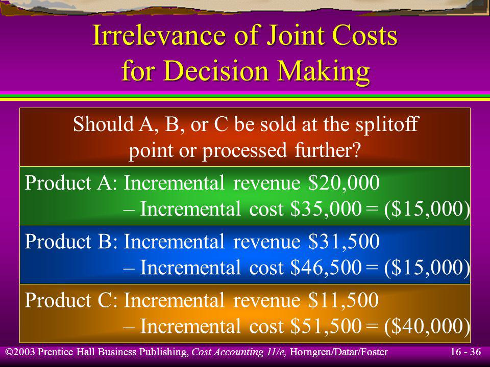 Irrelevance of Joint Costs for Decision Making