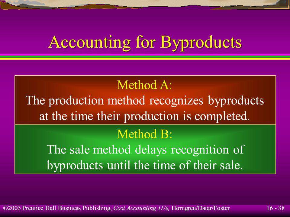 Accounting for Byproducts