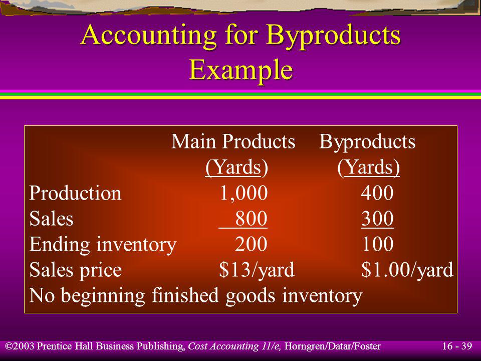 Accounting for Byproducts Example