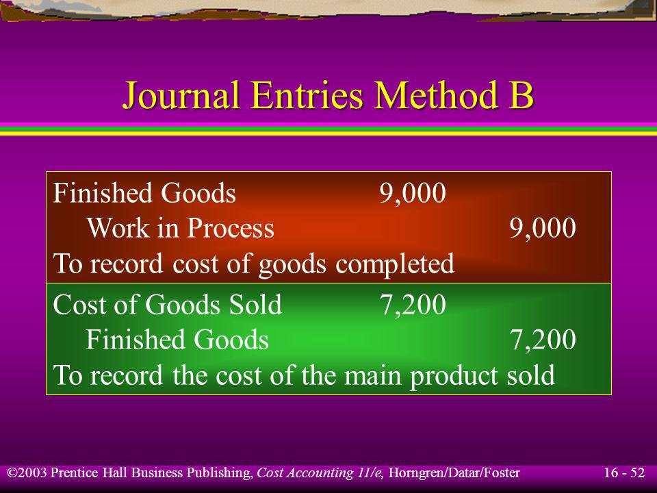Journal Entries Method B