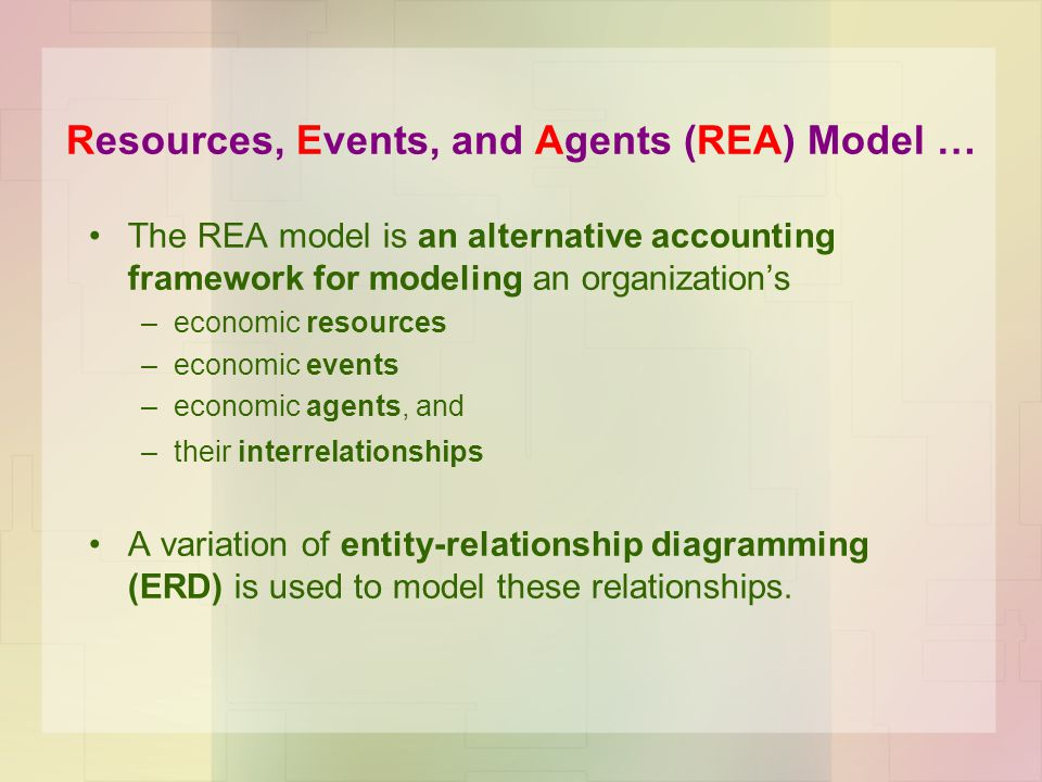 Resources, Events, and Agents (REA) Model …