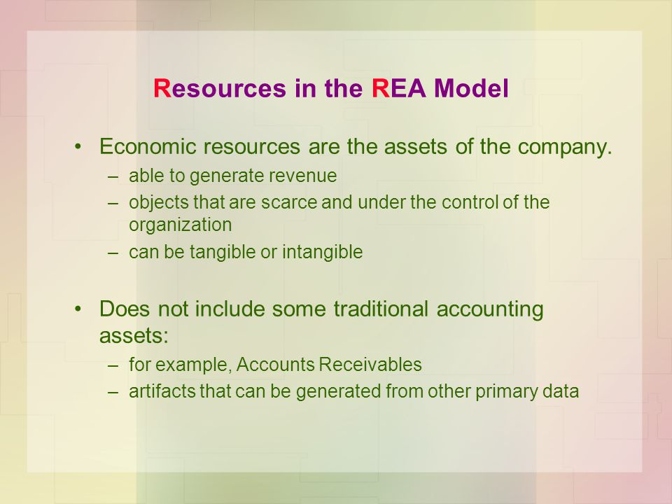 Resources in the REA Model