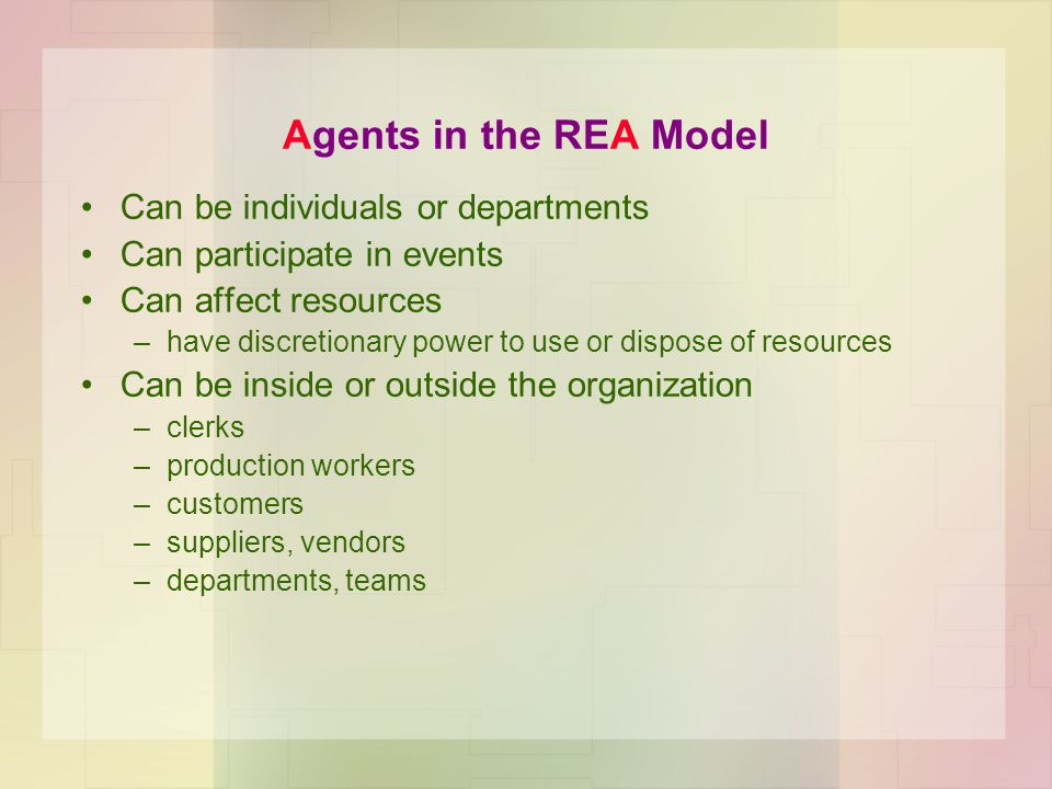Agents in the REA Model Can be individuals or departments