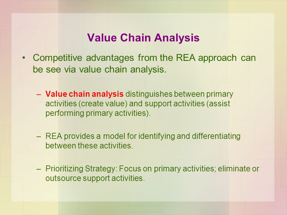 Value Chain Analysis Competitive advantages from the REA approach can be see via value chain analysis.