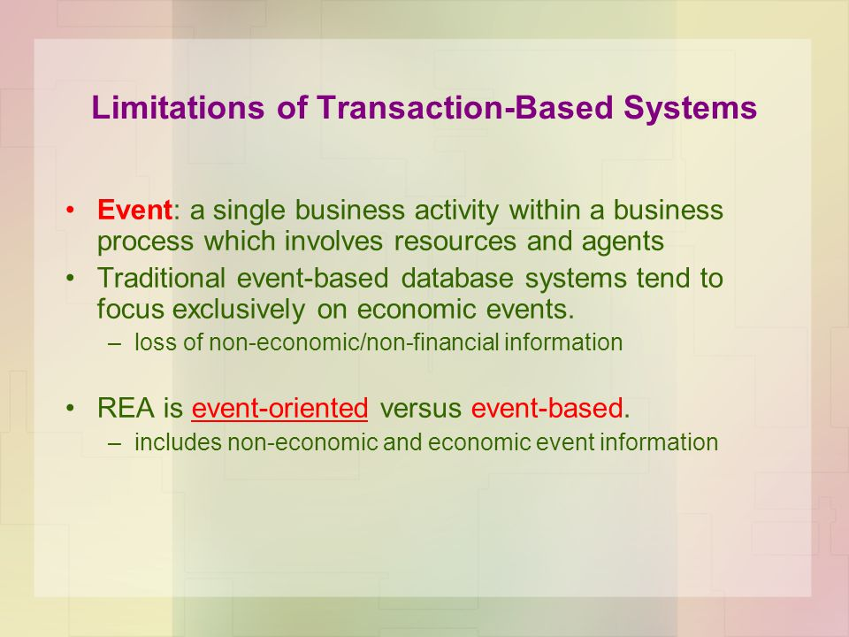 Limitations of Transaction-Based Systems