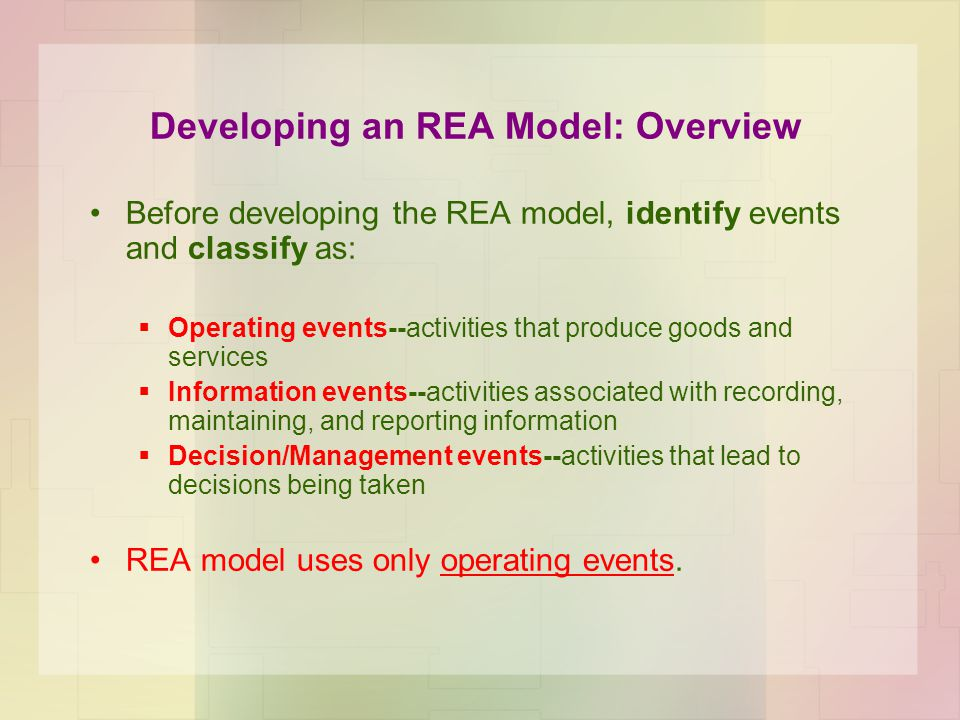 Developing an REA Model: Overview
