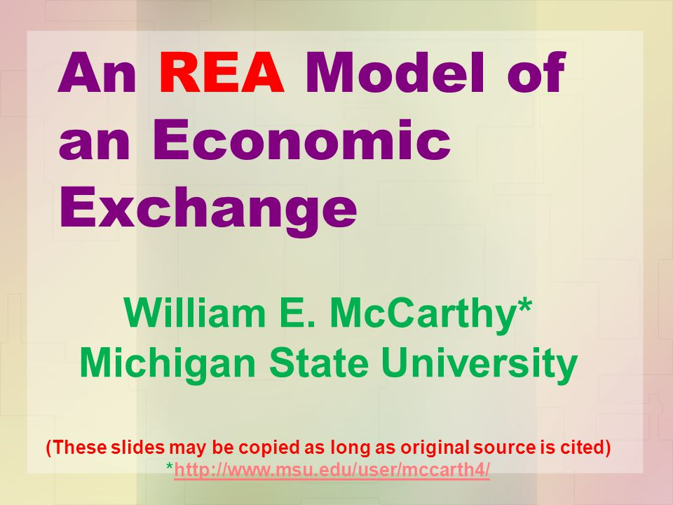 An REA Model of an Economic Exchange