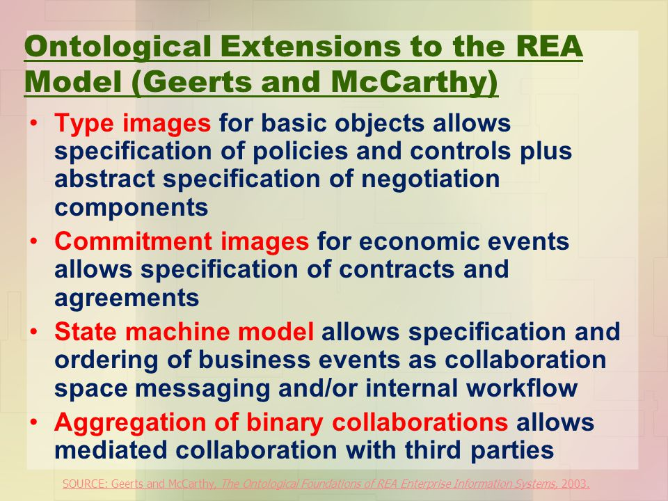 Ontological Extensions to the REA Model (Geerts and McCarthy)