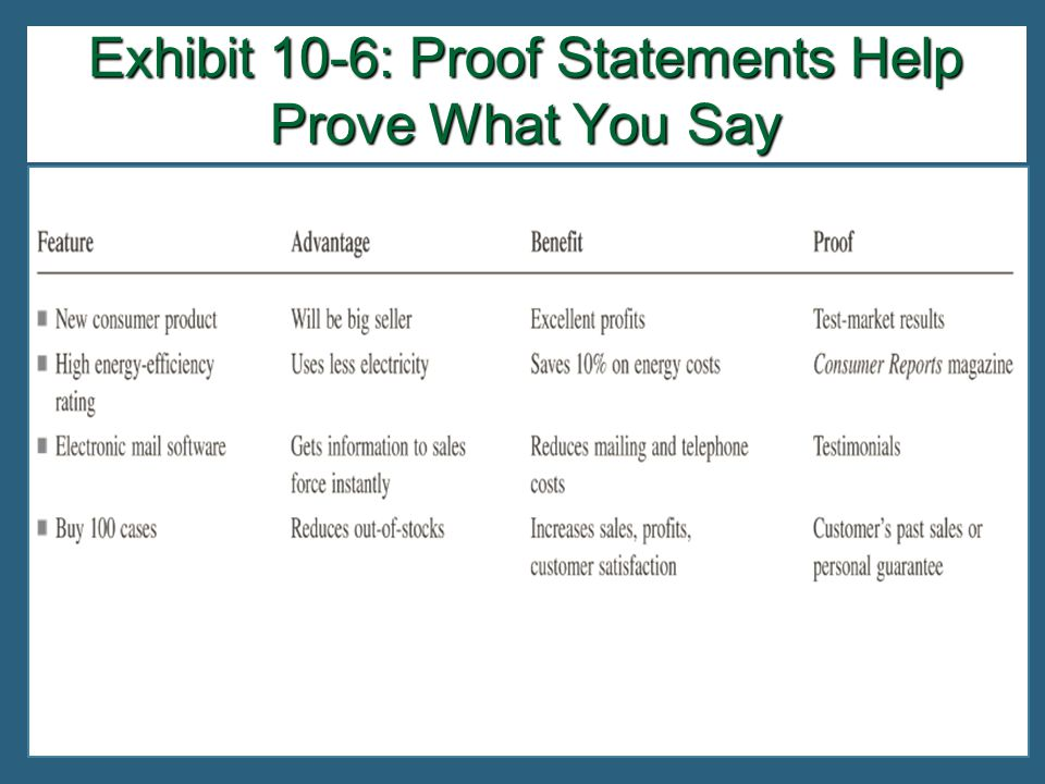 Exhibit 10-6: Proof Statements Help Prove What You Say
